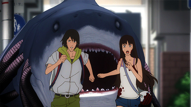 Shirakawa and Kaori run from the Shark Walker